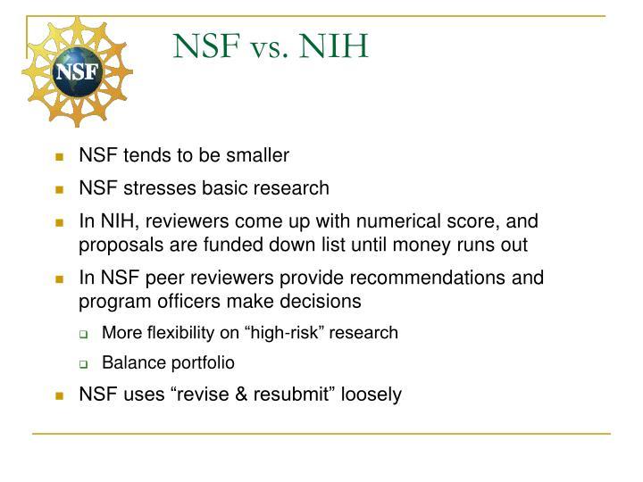 NSF vs. NIH