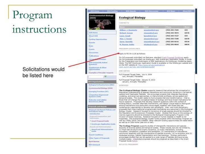 Program instructions