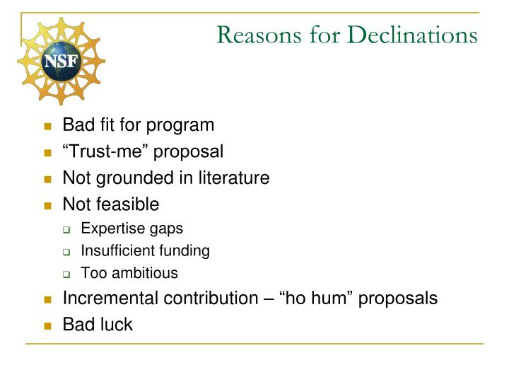 Reasons for Declinations
