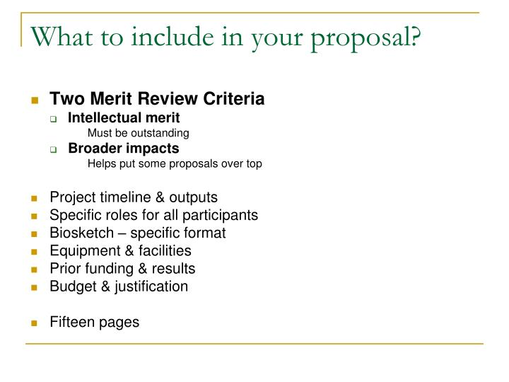 What to include in your proposal?