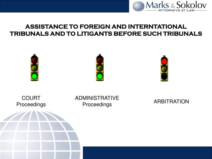 ASSISTANCE TO FOREIGN AND INTERNTATIONAL TRIBUNALS AND TO LITIGANTS BEFORE SUCH TRIBUNALS