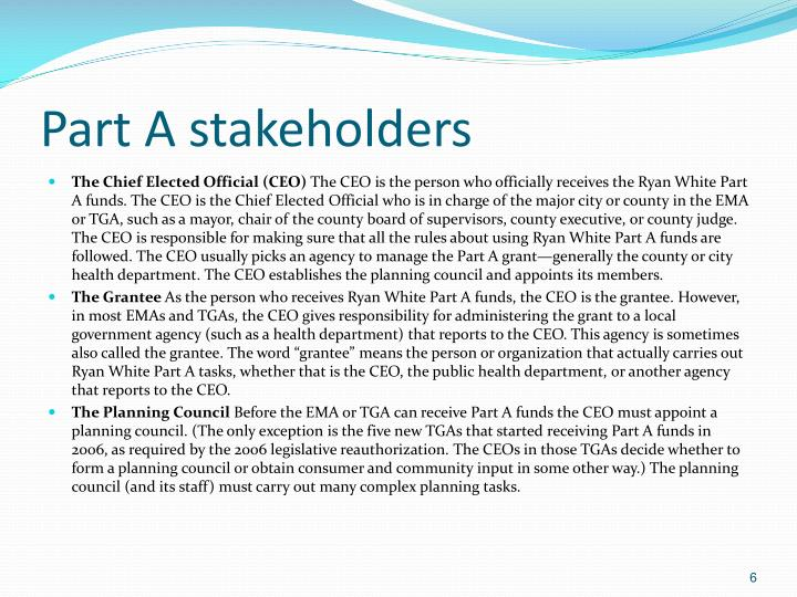Part A stakeholders