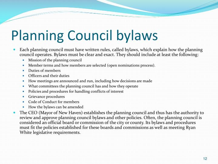 Planning Council bylaws