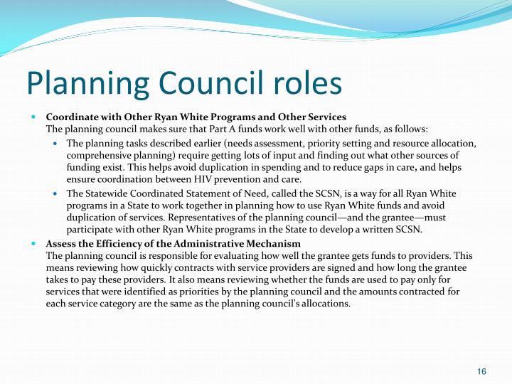 Planning Council roles