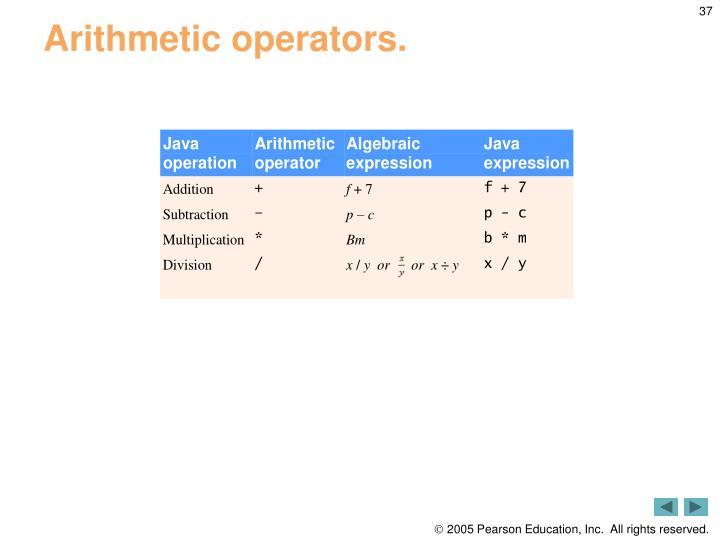 Arithmetic operators.