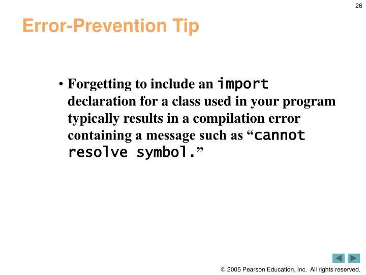 Error-Prevention Tip