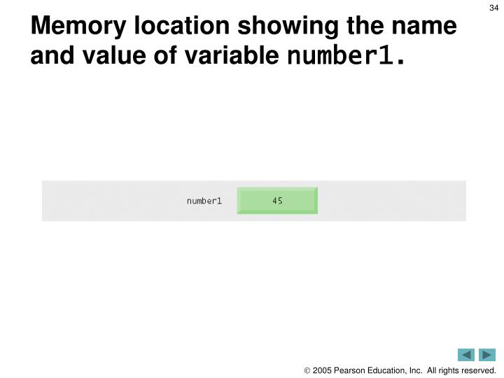Memory location showing the name and value of variable