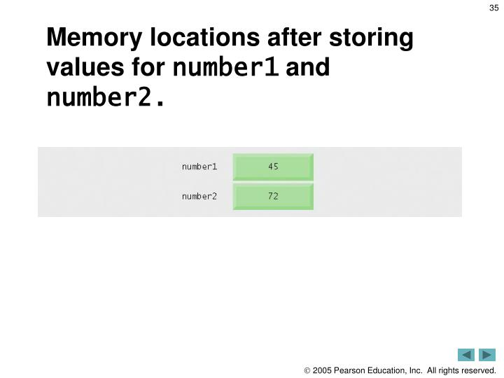 Memory locations after storing values for