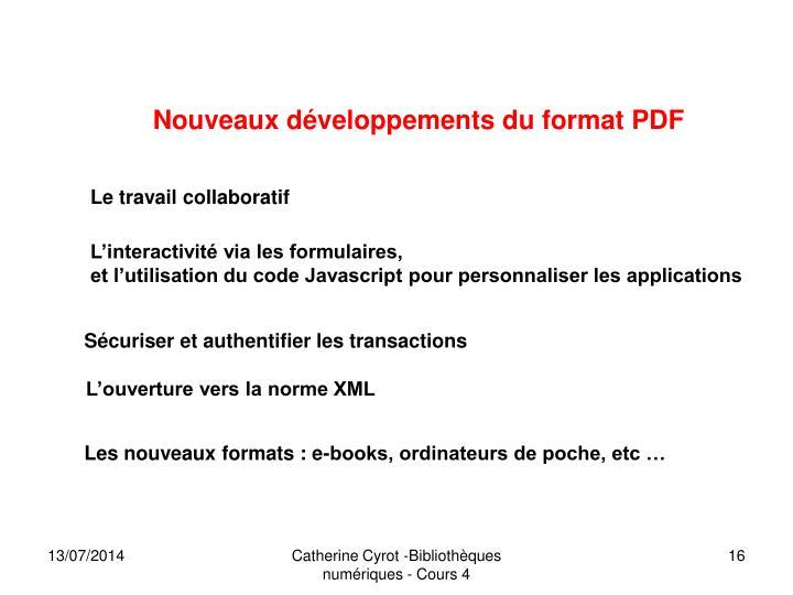 Nouveaux développements du format PDF
