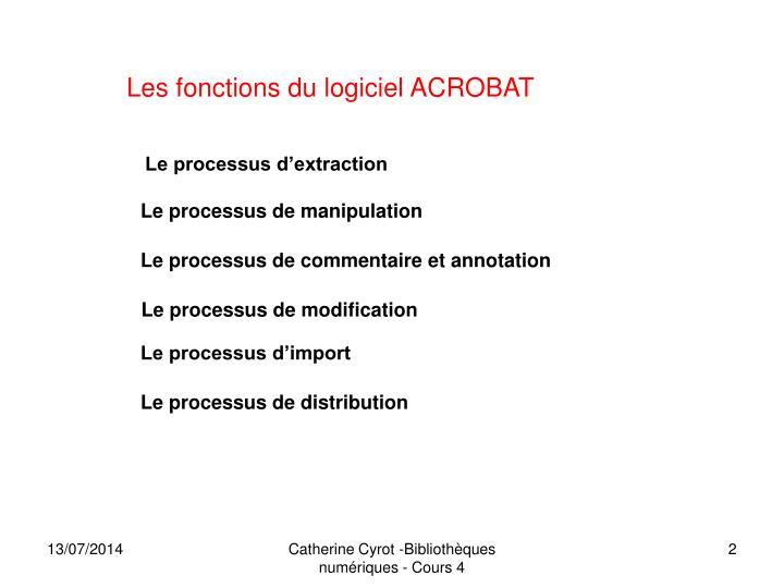 Les fonctions du logiciel ACROBAT