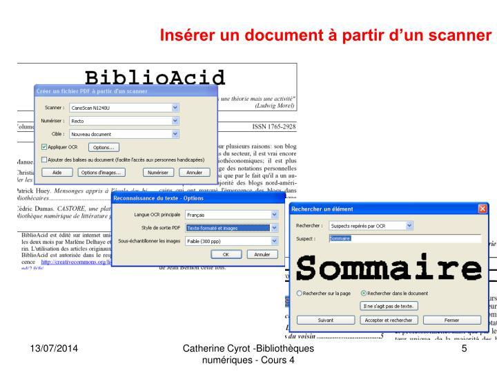 Insérer un document à partir d'un scanner