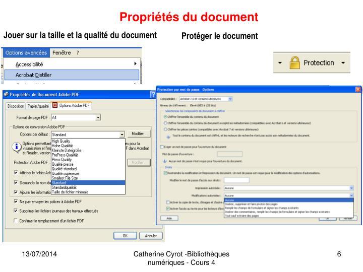 Propriétés du document