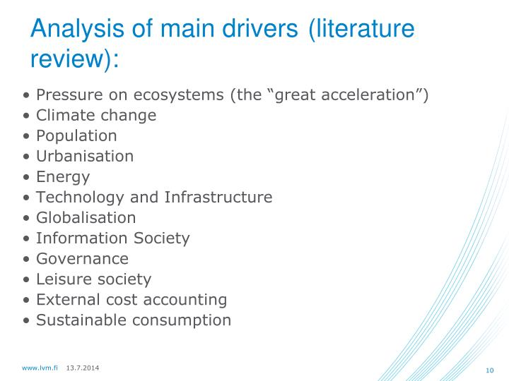 Analysis of main drivers
