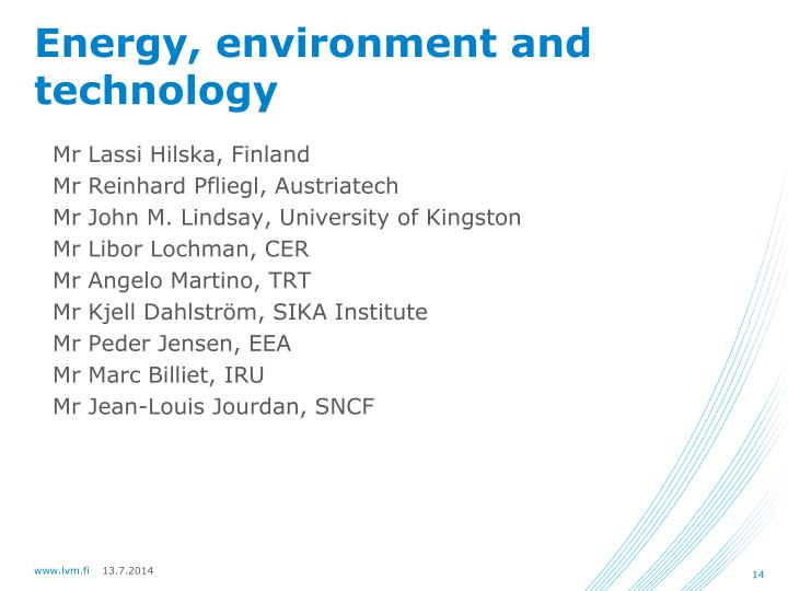 Energy, environment and technology