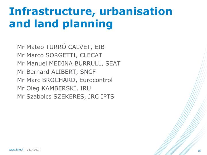 Infrastructure, urbanisation and land planning