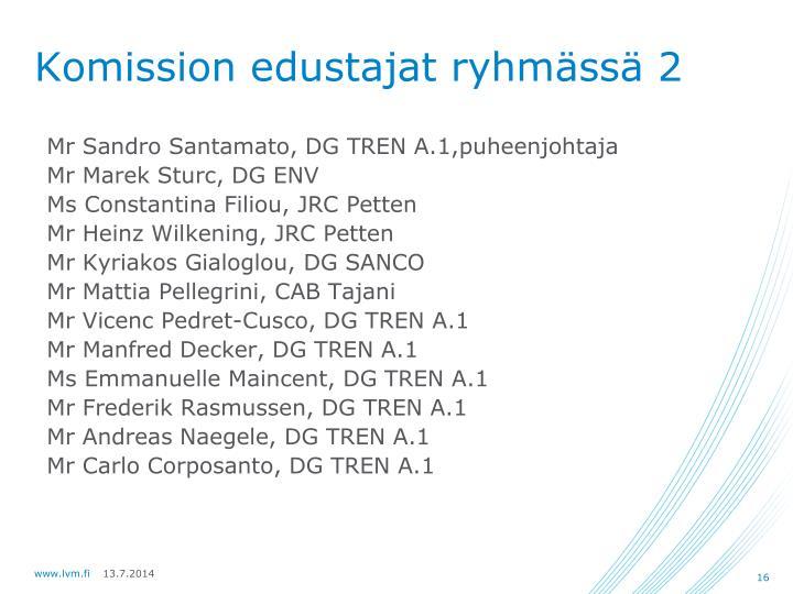 Komission edustajat ryhmässä 2