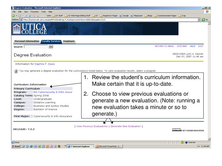 Review the student's curriculum information. Make certain that it is up-to-date.