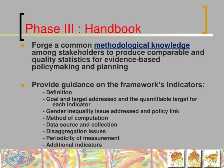 Phase III : Handbook