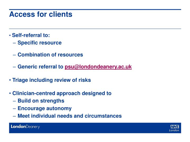 Access for clients