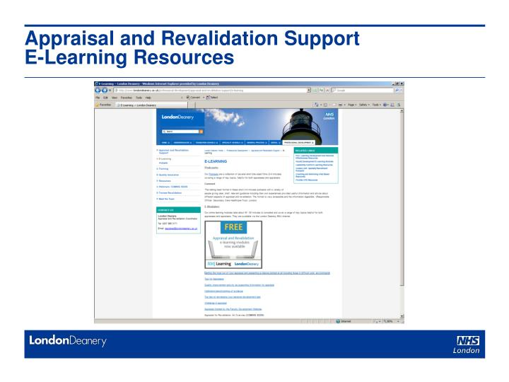 Appraisal and Revalidation Support