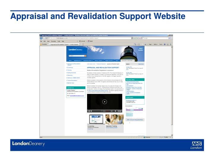 Appraisal and Revalidation Support Website
