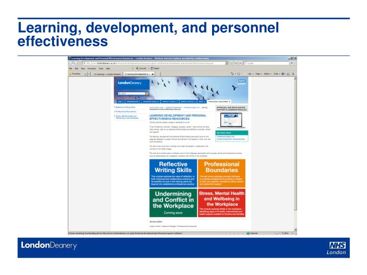 Learning, development, and personnel effectiveness