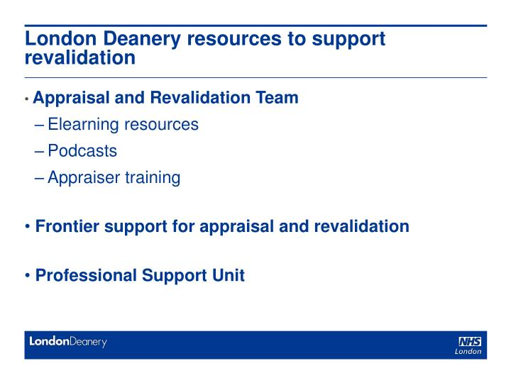 London Deanery resources to support revalidation