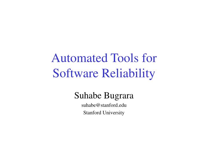 automated tools for software reliability