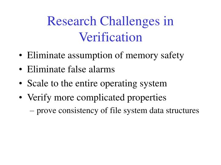 Research Challenges in Verification