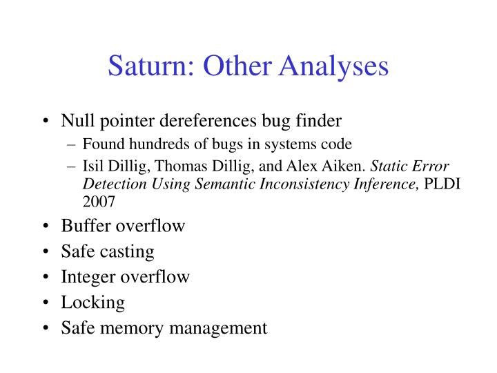 Saturn: Other Analyses