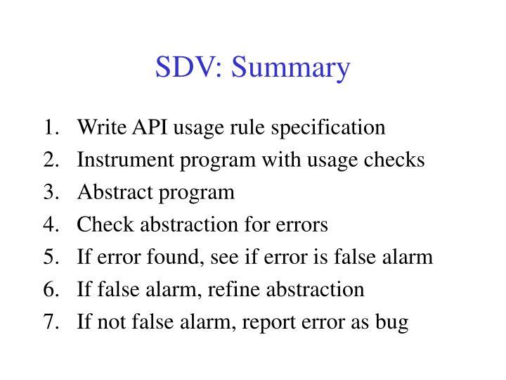 SDV: Summary