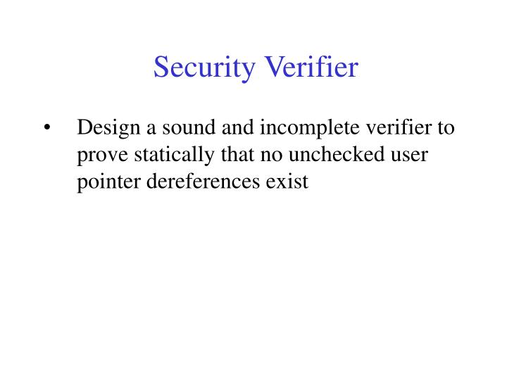 Security Verifier