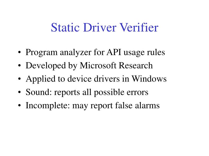 Static Driver Verifier