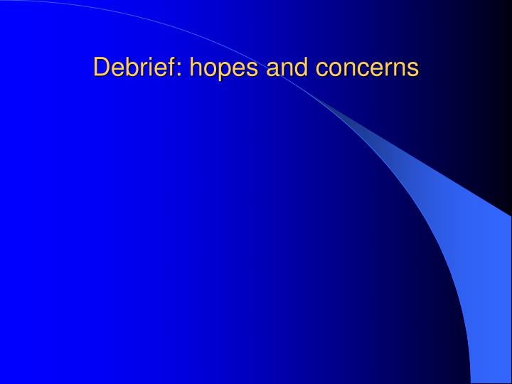 Debrief: hopes and concerns