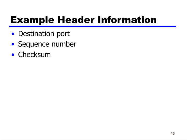 Example Header Information