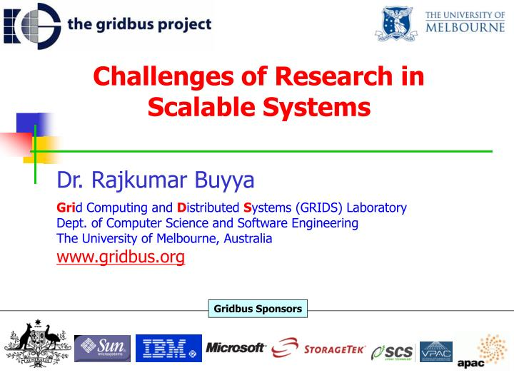 Challenges of research in scalable systems