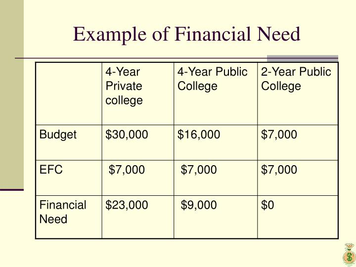 Example of Financial Need