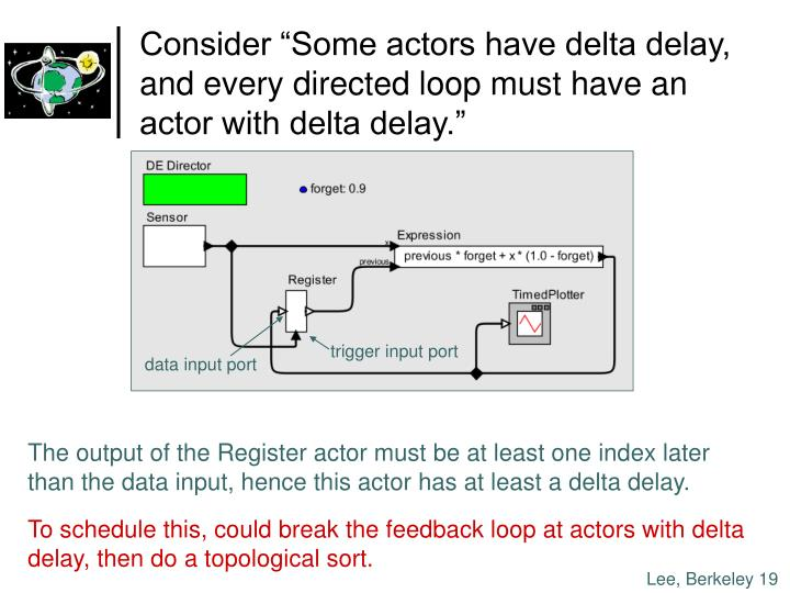 "Consider ""Some actors have delta delay,"