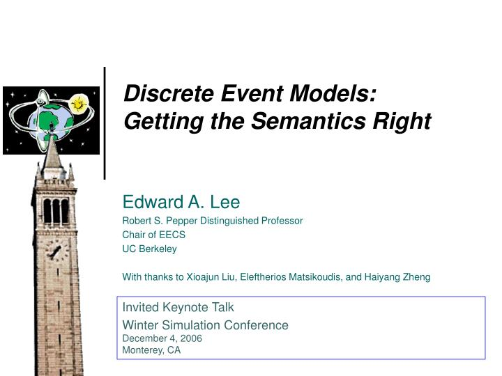 Discrete Event Models: