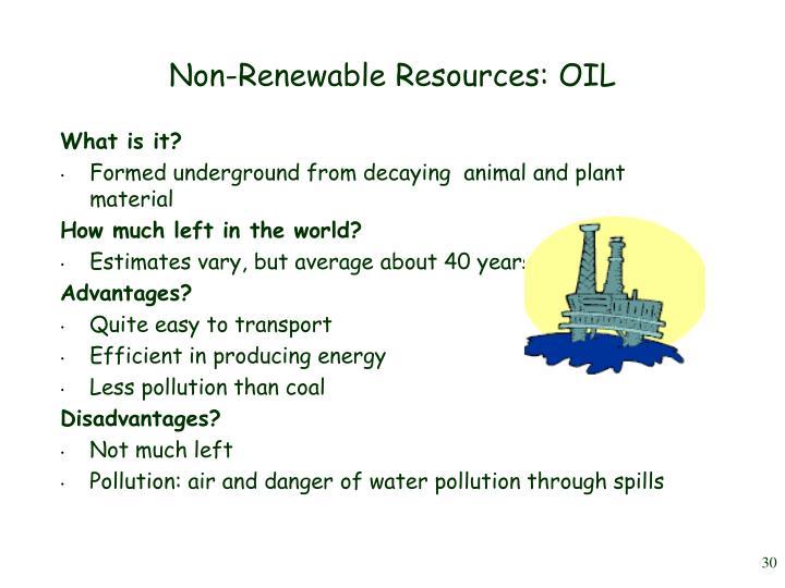 Non-Renewable Resources: OIL