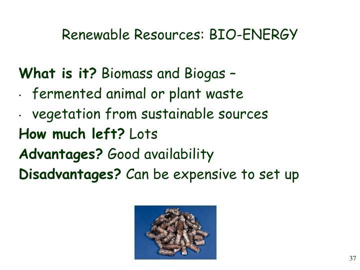 Renewable Resources: BIO-ENERGY
