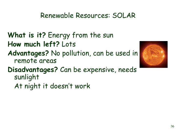 Renewable Resources: SOLAR