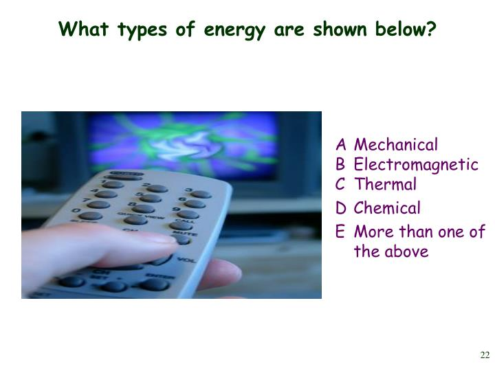 What types of energy are shown below?