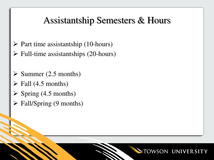 Assistantship Semesters & Hours
