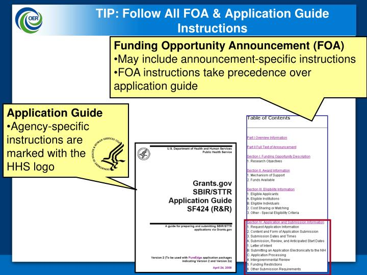 TIP: Follow All FOA & Application Guide Instructions