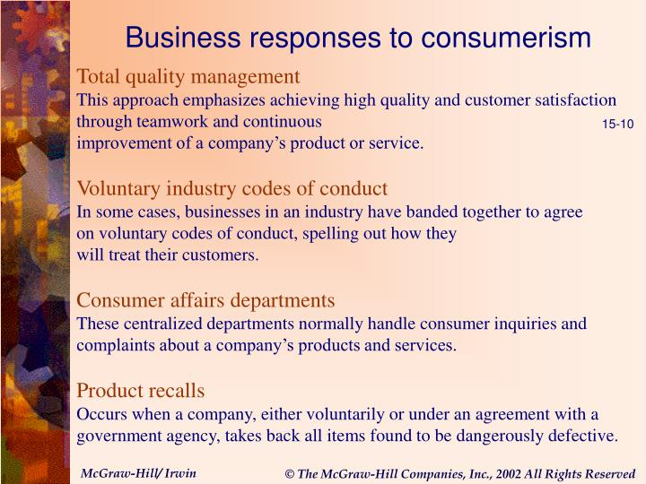 Business responses to consumerism
