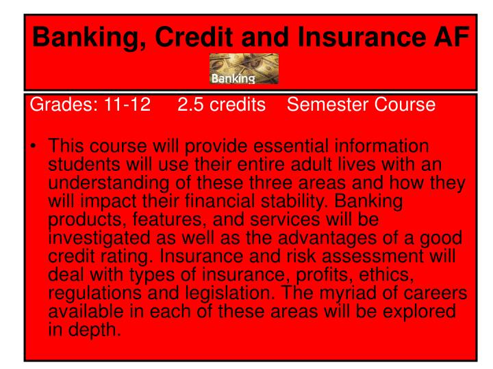 Banking, Credit and Insurance AF