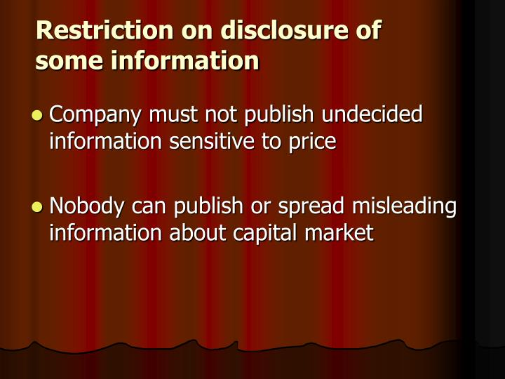 Restriction on disclosure of some information