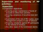 supervision and monitoring of mf activities