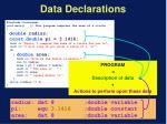 data declarations